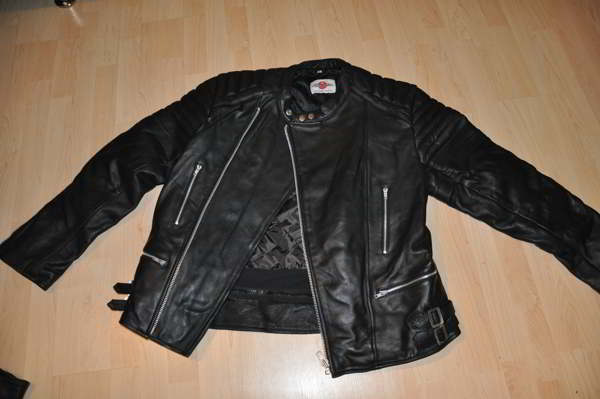 lederjacke leder motorradjacke m schwarz retro oldschool vintage. Black Bedroom Furniture Sets. Home Design Ideas