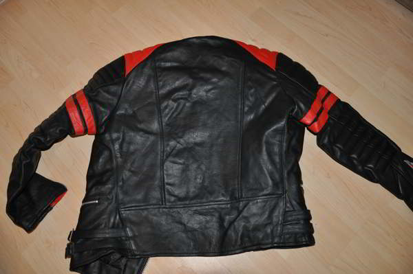 lederjacke leder motorradjacke l schwarz rot retro oldschool vintage ebay. Black Bedroom Furniture Sets. Home Design Ideas