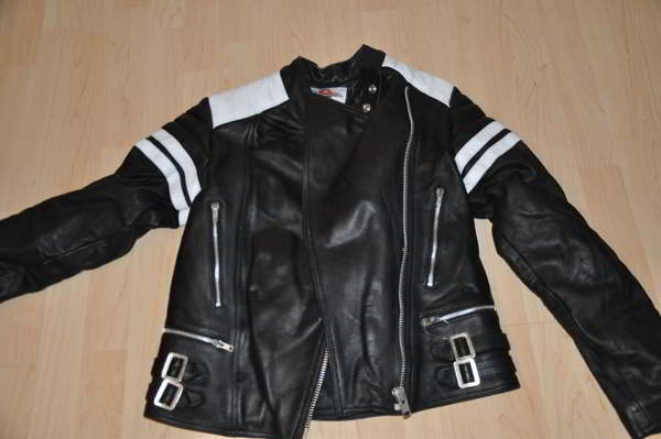 damen retro motorrad lederjacke leder motorradjacke l 40 schwarz weiss ebay. Black Bedroom Furniture Sets. Home Design Ideas
