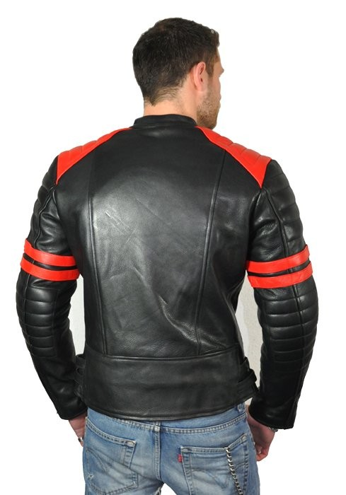 herren retro motorrad lederjacke leder motorradjacke l schwarz weiss ebay. Black Bedroom Furniture Sets. Home Design Ideas
