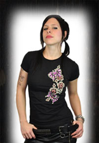 """Skull Fly Vine"" Lucky 13 Girlie Shirt"